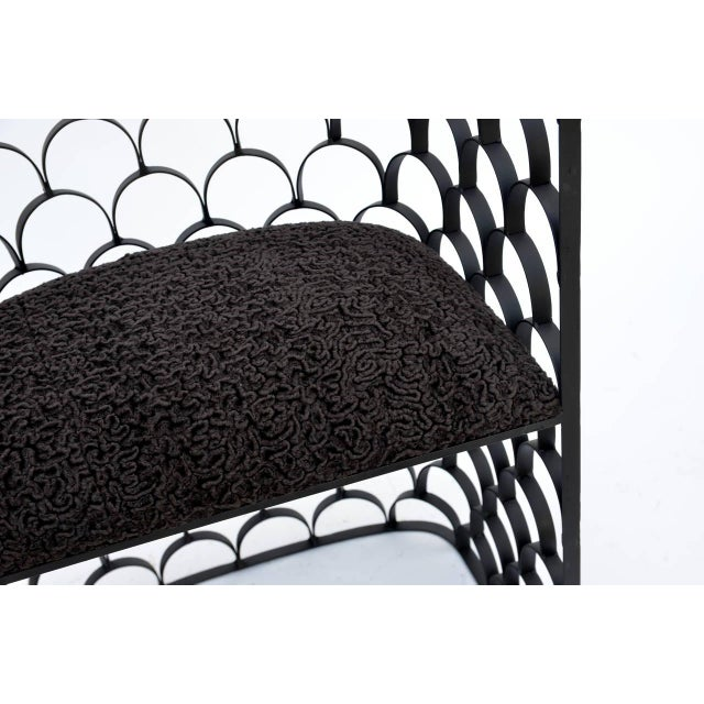 Metal Sculptural Wrought Iron and Astrakhan Wool 'Arcature' Stool by Design Frères For Sale - Image 7 of 9