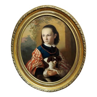 19th Century English School -Girl Holding Her Cute Dog-Oil Painting C1820s For Sale