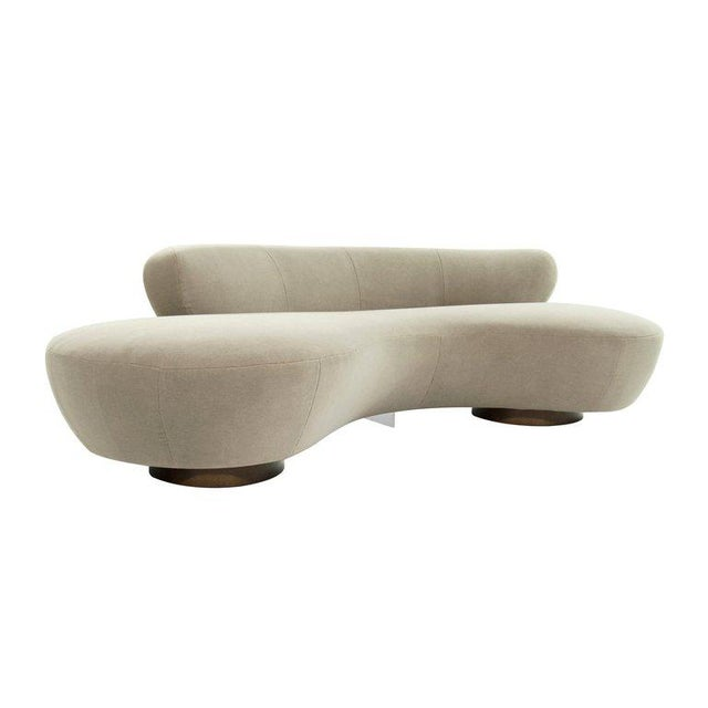 Curved Sofa on Walnut Bases by Vladimir Kagan for Directional For Sale - Image 13 of 13