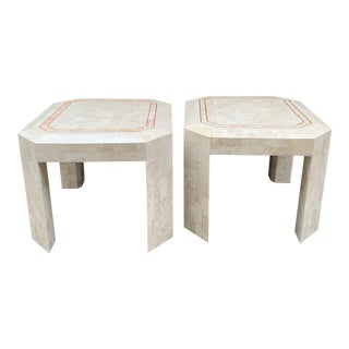 Maitland - Smith Tessellated Brass & Marble Side Tables - a Pair For Sale