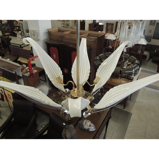 Murano Seguso White Glass Chandelier For Sale - Image 4 of 6