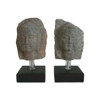 Antique Mounted Stone Buddha Heads in Relief - Pair