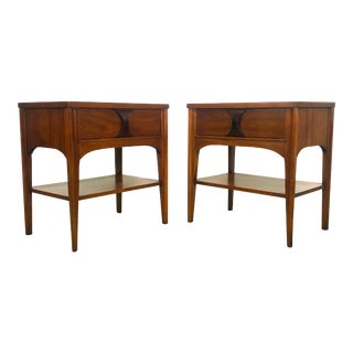 1960s Mid-Century Modern Rosewood & Pecan Nightstands by Kent Coffey - a Pair For Sale