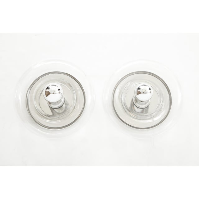Contemporary Minimalist Glass Donut Sconces / Flush Mounts by Doria - a Pair For Sale - Image 3 of 8