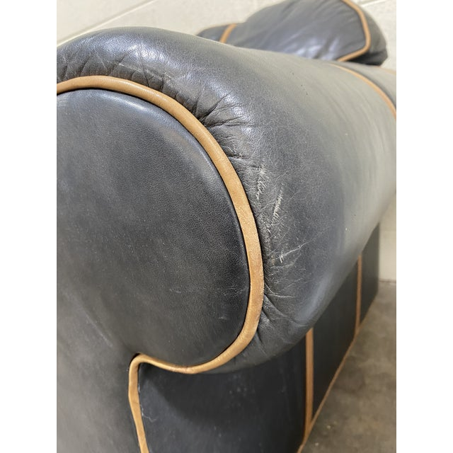 Michael Thomas Onyx Leather Sofa For Sale In Richmond - Image 6 of 13