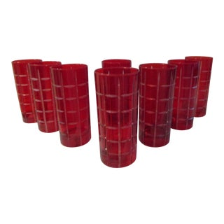 Red Cut Crystal Highball Glasses, S/ For Sale
