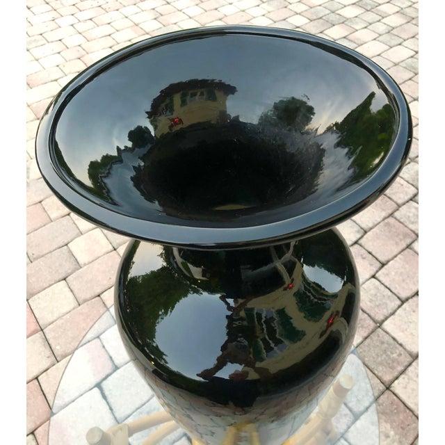 1980s Vintage Black Ceramic Vase For Sale - Image 4 of 6