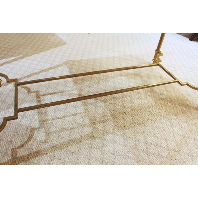 Maison Jansen Style Brass & White Marble Top Coffee Table For Sale In Raleigh - Image 6 of 8