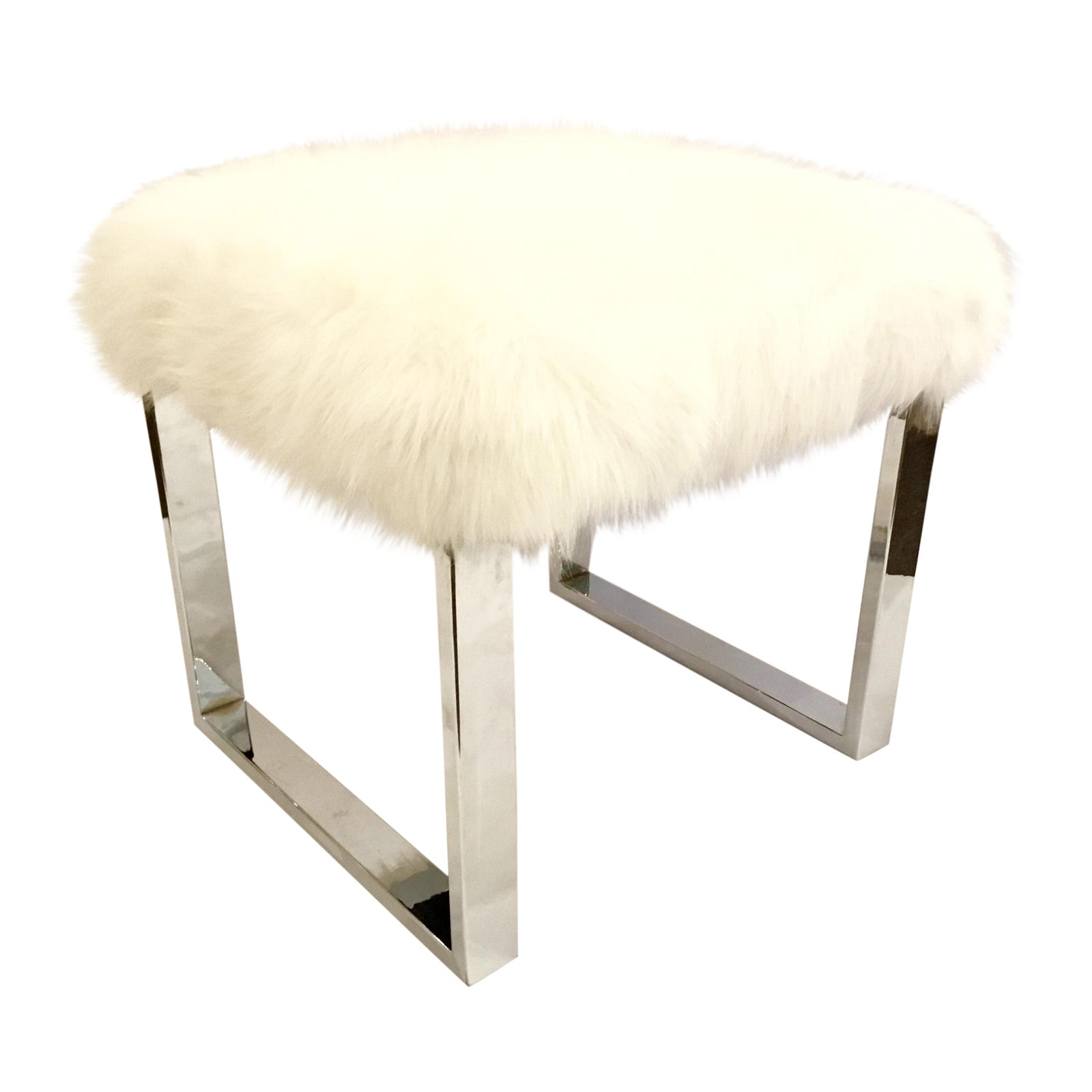 Fantastic Port 68 Modern Dylan Nickel And White Faux Fur Bench Squirreltailoven Fun Painted Chair Ideas Images Squirreltailovenorg