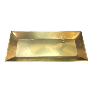 Vintage Solid Brass Rectangle Tray For Sale