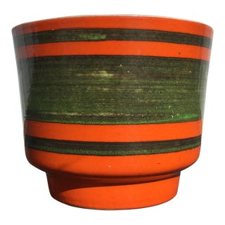 Mid-Century Orange and Green Planter