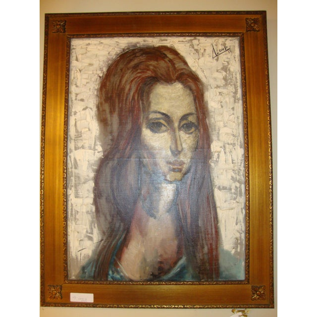 """Mid-Century Modern """"Young Lady With Flowing Hair"""" Oil on Canvas Portrait Painting For Sale - Image 3 of 6"""