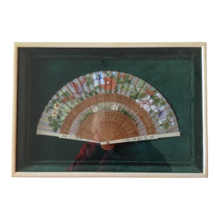 Antique Asian Hand-Painted Floral Fan For Sale