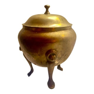 Hollywood Regency Lidded Brass Urn
