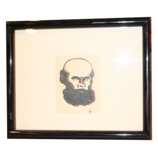 Black And White Print of Bearded Man For Sale
