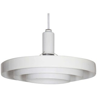 Minimalist White Three-Tier Saucer Pendant Light Fixture by Prescolite For Sale