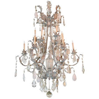 Custom Iron and Rock Crystal Chandelier For Sale
