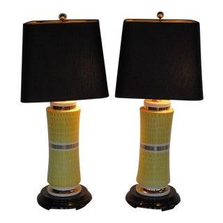 A Pair of Elegant Ceramic Lamps By Waylande Gregory