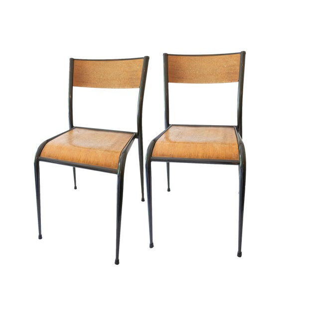 1930s 1930s French Jean Prouvé Style School Chairs - a Pair For Sale - Image 5 of 5