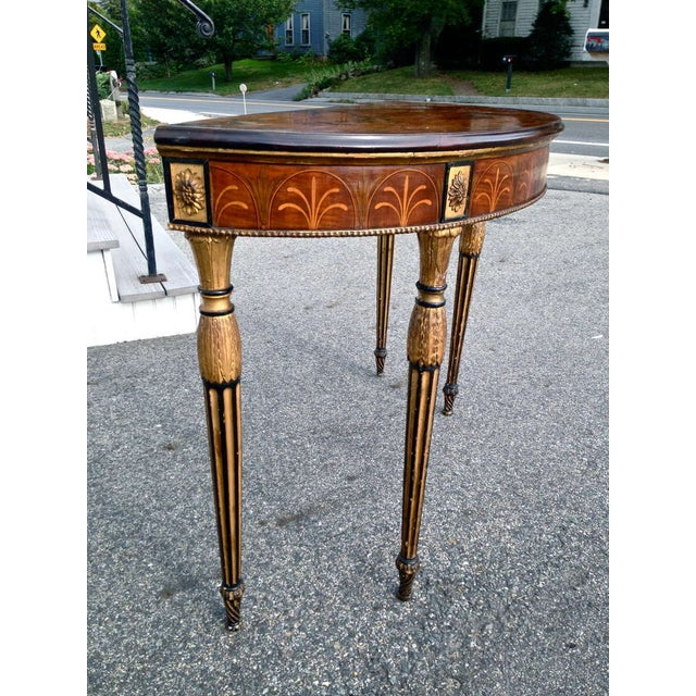 Neoclassical Rare and Exquisite Adam Period Satinwood and Gilt Demi-Lune Irish Console Table For Sale - Image 3 of 6