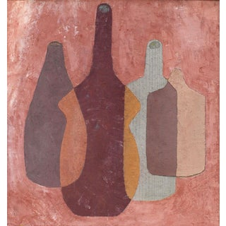 "Enni Still Life Painting, ""Composition for Four"", 14 75 X 15.75 In. Mixed Media on Panel For Sale"