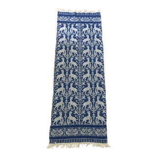 Vintage Blue and White Woven Cloth Cat Table Runner For Sale