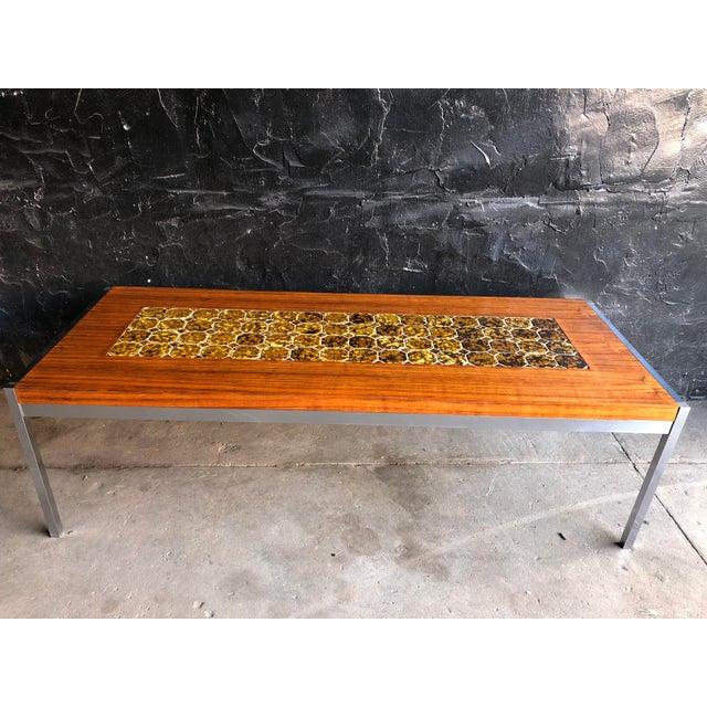 1960s Mid Century Modern Teak & Chrome Tiled Coffee Table For Sale In Philadelphia - Image 6 of 6