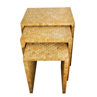 """Coconut Shell Tiled """"Bamboo"""" Nesting Tables - Set of 3"""