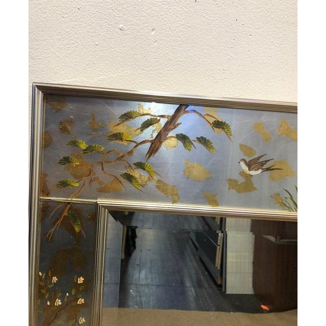 Labarge Labarge Chinoiserie Wall Reverse Painted Mirror For Sale - Image 4 of 7