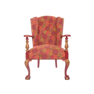 1910s Antique Chippendale Period Ball and Claw Upholstered Wingback Chair For Sale