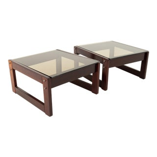 Percival Lafer Brazilian Mid Century Rosewood and Smoked Glass Side End Tables - Pair For Sale