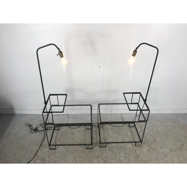 Frederick Weinberg Mid-Century Wrought Iron Table & Lamp Combo in the Style of Weinberg, McCobb For Sale - Image 4 of 13