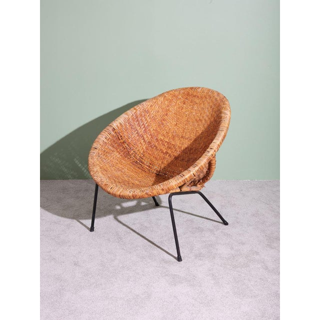 Iron 1960s Wicker and Iron Scoop Bucket Chair For Sale - Image 7 of 7