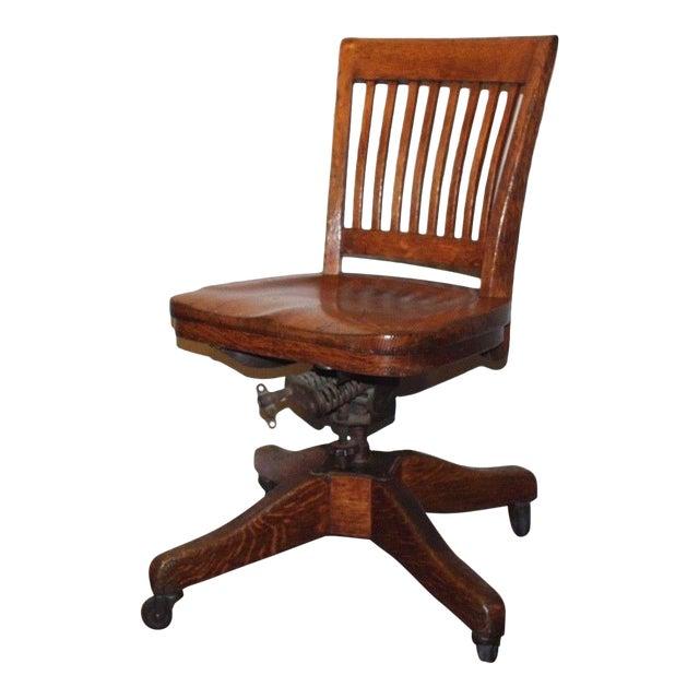 1930s Antique Marble & Shattuck Oak Wood Swivel Rolling Bankers Chair - 1930s Antique Marble & Shattuck Oak Wood Swivel Rolling Bankers