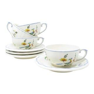 Vintage Oiseau De Paradis by Faiencerie De Gien Cups & Saucers - 4 Sets For Sale