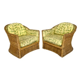 Vintage Wicker Lounge Chairs With Braided Trim- a Pair For Sale