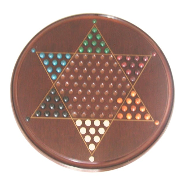 Vintage Wooden Chinese Checkers Board Game For Sale