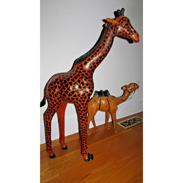 Handcrafted Leather Wrapped Paper Mache Giraffe and Camel - Set of 2 For Sale - Image 12 of 12