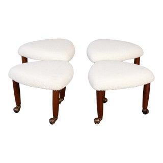 Set of Four Adrian Pearsall Upholstered Stools For Sale