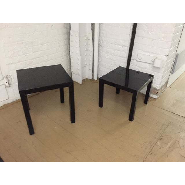 Black Vintage 1970's Black Lacquer Occasional Tables - Set of 3 For Sale - Image 8 of 12