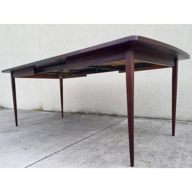 Mid-Century Expandable Walnut Dining Table - Image 10 of 11