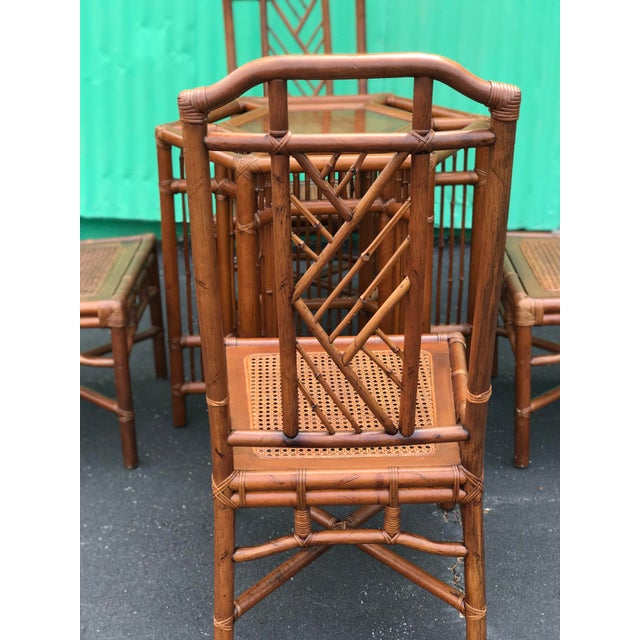 Boho Chic Vintage Brown Jordan Rattan Brighton Pavilion Style Table Four Chairs For Sale - Image 3 of 13