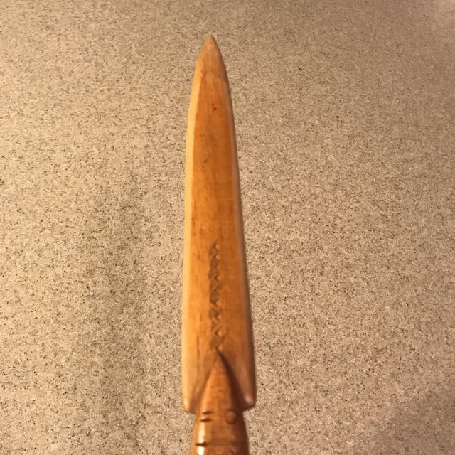 Wood Vintage Hand-Carved Wood Fish Letter Opener For Sale - Image 7 of 10