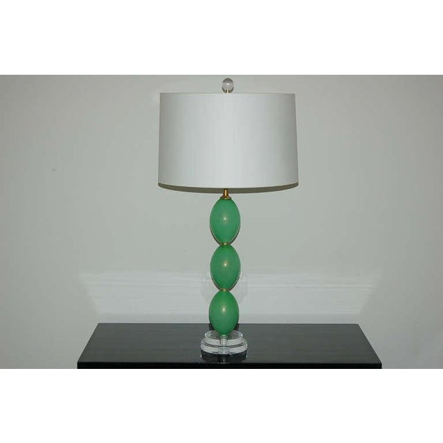 Hollywood Regency Vintage Murano Glass Egg Table Lamps Green For Sale - Image 3 of 9