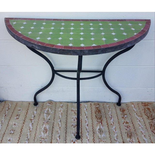 Moroccan Lime Green and Red Trim Mosaic Demilune Table For Sale In Orlando - Image 6 of 7