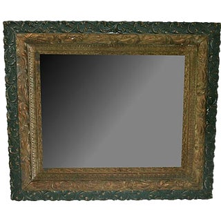 19th-C. Victorian Gold-Leaf & Green Mirror For Sale