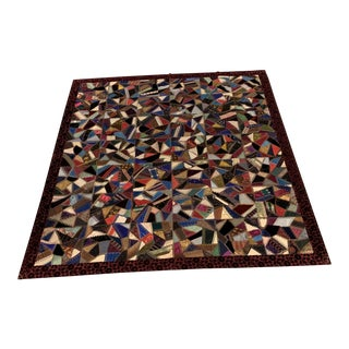 19th Century Folk Art Victorian Silk/Velvet Quilt For Sale