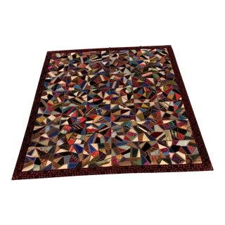 19th Century Folk Art Victorian Silk/Velvet Quilt For Sale