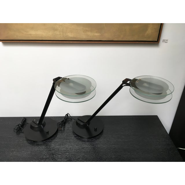 Black & Glass Post-Modern Italian Table Lamps by Relco - a Pair For Sale - Image 9 of 10