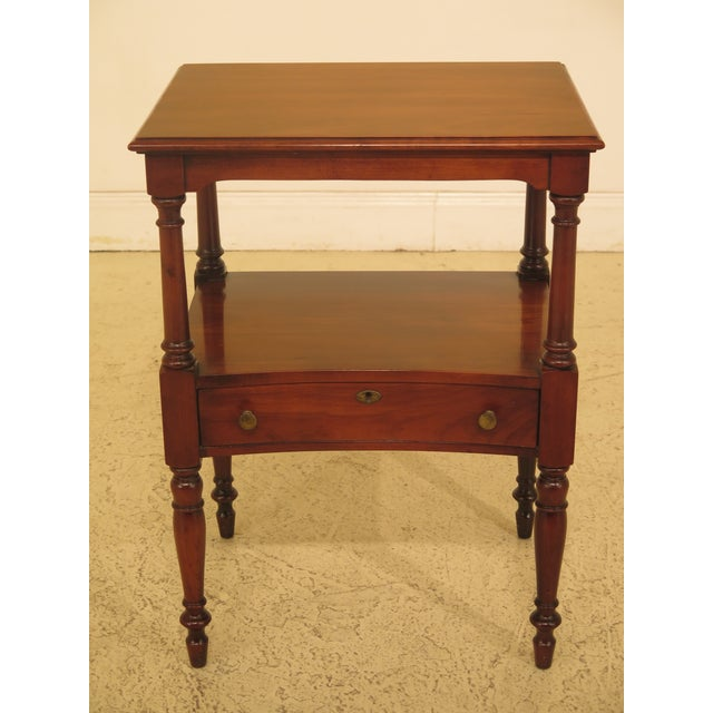 1980s Traditional Statton Solid Cherry 1 Drawer Nightstand Table For Sale - Image 9 of 9